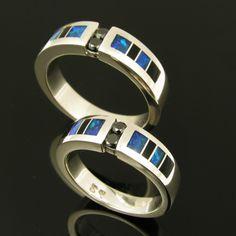 Black diamond sterling wedding ring set inlaid with onyx and opal. | HilemanSilverJewelry - Jewelry on ArtFire