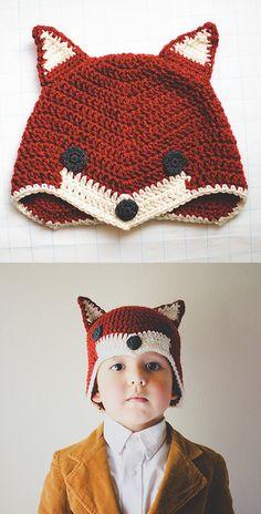 : : To crochet : : Fox hat - free crochet pattern : : Crochet Baby Hats, Crochet Beanie, Love Crochet, Crochet For Kids, Diy Crochet, Crochet Crafts, Crochet Clothes, Crochet Projects, Knitted Hats