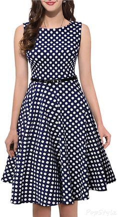 MIUSOL Retro Polka Dot Sleeveless Casual Dress
