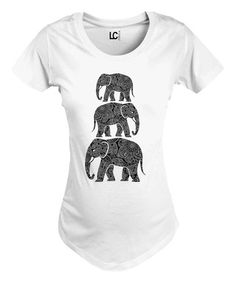 White Stacked Elephants Maternity Crewneck Tee