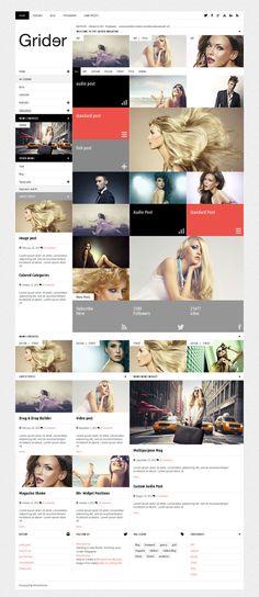Grider, WordPress Responsive Photographer Magazine Them by Premium Themes, via Behance