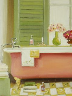 Florentine Bathtub  Janet Hill's work is both elegant, yet whimsical, often with an underlying narrative that instantly captures the imagination.  Her painting style evokes a sense of nostalgia,  timeless beauty, mystery and magic.  Some of Janet's corporate clients include Tiffany & Co., Hallmark UK, and Harper Collins. Janet is also the author and illustrator of Miss Moon: Wise Words From A Dog Governess, slated for release in Spring 2016 by Tundra Books/Penguin Random House Canada.