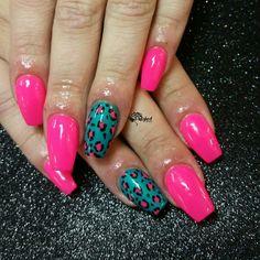 Bright nails in the fall. #chinaglaze #nailpolish #cheetahnails #leopardnails #notd #nailart #nailswag #pinknails