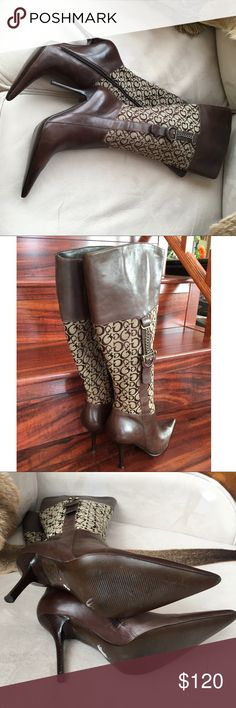 Guess Boots Guess Boots  Size 7M 4 inches heels. The inside is of very thin leather. These boots was worn once. Superior condition Guess Shoes Heeled Boots