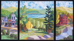 Berkshires Triptych Quilt Carol Anne Grotrian