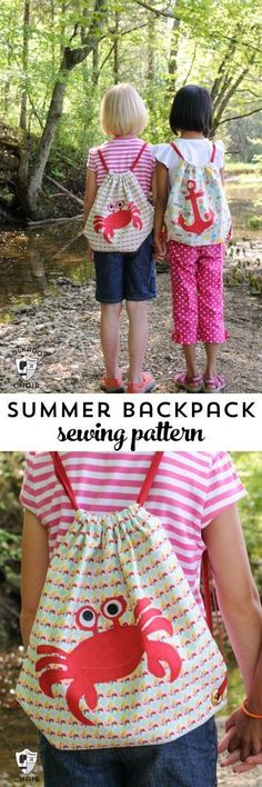 Free Sewing Pattern for a simple summer drawstring backpack for kids. Even includes a free download for the crab and anchor applique shapes on the bag.