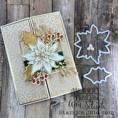 Winter Cards, Holiday Cards, Poinsettia Cards, Homemade Christmas Cards, Christmas Ideas, Leaf Cards, Make Your Own Card, Christmas Poinsettia, Card Making Inspiration