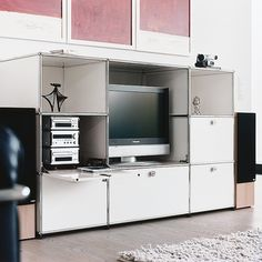 USM Haller modular systems - lots of color ways (maybe for upstairs lounge?)