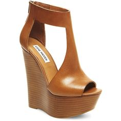 Steve Madden Women's Gunnther Sandals ($130) ❤ liked on Polyvore featuring shoes, sandals, wedges, cognac le, peep toe sandals, t strap wedge sandals, high wedge sandals, wedges shoes and ankle strap sandals