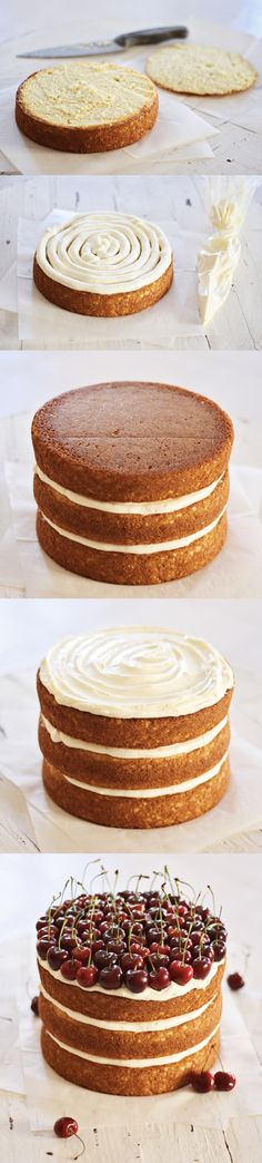 How To Make A Simple Naked Cake: http://www.kristimurphy.com/blog/how-to-make-a-naked-cake #diyblog #diyideas