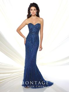 116934 - Strapless sweetheart hand-beaded tulle sheath with beaded natural waist, sweep train. Matching shawl and removable straps included.