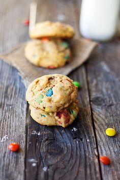 soft baked pumpkin m&m cookies