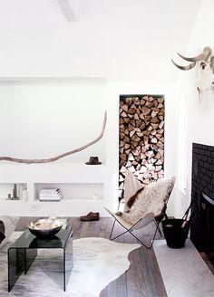 Colours, shelf, logs, sheepskin