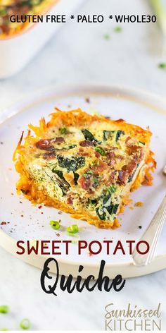 Sweet Potato Bacon Quiche - Dairy Free The perfect breakfast casserole for Christmas! A nutrient dense sweet potato crust takes the place of a wheat version, making this paleo and Filled with bacon, kale, mushrooms, and a dairy free egg custard. Dairy Free Bread, Dairy Free Snacks, Dairy Free Breakfasts, Dairy Free Eggs, Dairy Free Diet, Dairy Free Recipes, Dairy Free Egg Casserole, Lactose Free Quiche Recipes, Dairy Free Custard