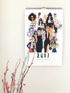 2017 Calendar,Wall Calender,Fashion Illustration,Fashion illustration Calendar,Fashion Calendar,Fashion art,Fashion wall art,Fashion poster