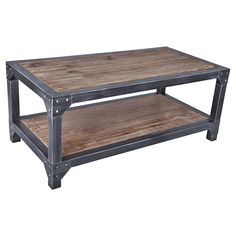 The Armen Living Astrid industrial coffee table is certain to enhance the beauty of any contemporary household. Framed in durable Industrial Grey metal and featuring a stylish pine wood paneled top and lower shelf, the Astrid presents the ideal combi Metal Furniture, Industrial Furniture, Living Room Furniture, Coffee Table Grey, Coffee Tables, Coffee Cups, Welding Table, Low Shelves, Industrial Table