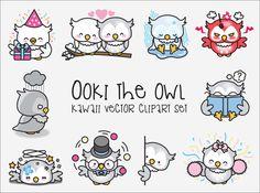 Premium Vector Clipart - Kawaii Ooki the Owl - Cute Owls Clipart Set - High Quality Vectors - Instant Download - Kawaii Clipart - Kawaii Owl