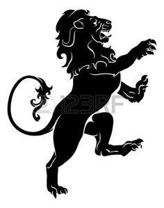 лев: Иллюстрация геральдический лев безудержной на задних лапах, как те, что на герб