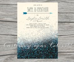 NEW - Glitter Sweet 16 Invitation - Printable/Digital - Customize your colors on Etsy, $15.00