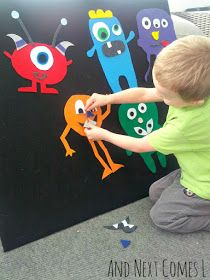 I need a felt board for my little boys! Great activity of making monsters with different shapes and body parts.