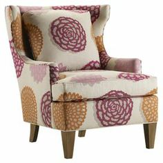 """Upholstered accent chair with loose back cushion. Made in the USA.   Product: ChairConstruction Material: Wood and fabricColor: Elodea berry and antique chestnutFeatures: Made in the USAPillow includedDimensions: 37"""" H x 31.5"""" W x 38"""" D"""