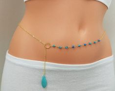 Belly chain, Gold Belly Chain, Turquoise Belly Chain, Bikini Chain, Long Necklace, Turquoise Long Necklace, Waist Chain Waist Jewelry, Body Chain Jewelry, Back Jewelry, Body Jewellery, Jewelry Shop, Fashion Jewelry, Handmade Pearl Jewelry, Rhinestone Jewelry, Diy Belly Chains