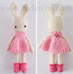 Pretty in pink – bunny dress pattern – DIY tutorial – CrochetObjet by MoMalron