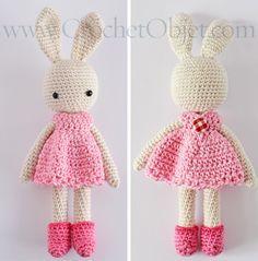 Pretty in pink – bunny dress pattern – DIY tutorial – CrochetObjet by MoMalron