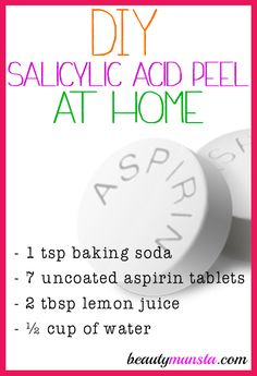 If you have acne prone skin, you'll love this homemade salicylic acid peel because it has strong anti-acne properties! I'm sure you've seen salicylic acid listed as an ingredient in an acne face wash , cream or exfoliating product! Salicylic acid is a typ Homemade Face Masks, Homemade Skin Care, Homemade Moisturizer, Homemade Face Peel, Homemade Blush, Homemade Products, Homemade Beauty, Skin Care Regimen, Skin Care Tips
