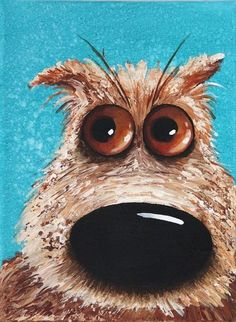 Original acrylic canvas animal pet painting art grumpy dog *low starting price* #IllustrationArt
