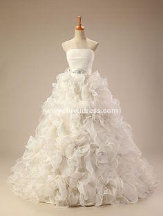 Elegant strapless ball gown galina wholesale wedding dress with sash