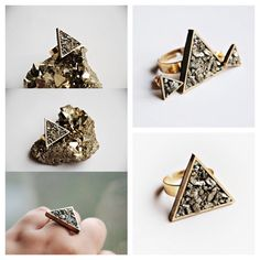 A dainty ring, featuring a golden triangle with Pyrite stones Meet Market, Golden Triangle, Dainty Ring, Cufflinks, Stones, Rings, Accessories, Fashion, Moda