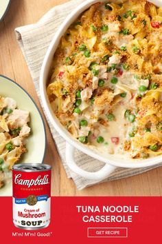 This comforting and reliable classic features tuna, egg noodles, cream of mushroom soup and peas, topped with a crunchy bread crumb topping. If you looking to feed a crowd, try: Crowd-Pleasing Tuna Noodle Casserole or Turkey Noodle Casserole Tuna Recipes, Seafood Recipes, Crockpot Recipes, Chicken Recipes, Dinner Recipes, Cooking Recipes, Recipies, Noodle Casserole, Casserole Dishes