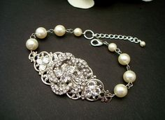 Bridal Rhinestone Bracelet Ivory Swarovski Pearls by DivineJewel, $30.00