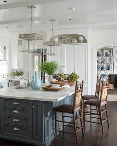Traditional Home with Blue and White Interiors Kitchen Island Paint Farrow and Ball Down Pipe No.26