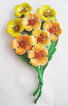 60 best vintage enamel flower pins images on pinterest flower vintage sunny yellow and orange enamel rhinestone flower bouquet pin mightylinksfo