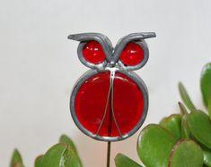 Vitraux Owl plante pieu, Art jardin hibou rouge