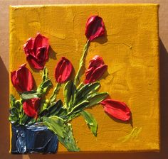 Impasto painting Red Tulips in a Blue Vase Check out this and my other paintings at my Etsy Store: http://www.etsy.com/shop/KulArt?ref=ss_profile Please come back again, I add more stuff practically daily.