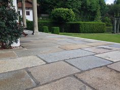To match the farmhouse, old grated slabs / crust slabs / granite slabs . To match the farmhouse, old grated slabs / crust slabs / granite slabs were installed. Granite Slab, Farmhouse Remodel, Modern Farmhouse, Pergola, Sidewalk, Landscape, Remodeling, Gardening, Ideas