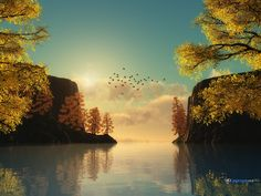 #Autumnal #Lake #Landscape 3D #Desktop #Wallpaper
