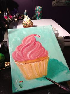 Oil on canvas . Cupcake