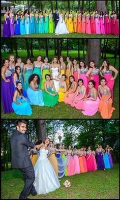 Rainbow dresses bridesmaids, Vestidos de damas de honor en arcoiris
