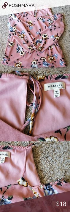 Monteau Floral Top Has a small opening in the back which can be tied. Open shoulders. No visible flaws. Monteau Tops Blouses