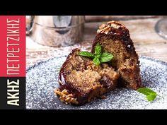 Greek chocolate walnut cake - Karidopita by Greek chef Akis Petretzikis. A spectacula, authentic, traditional Greek cake with chocolate, walnuts and syrup! Greek Sweets, Greek Desserts, Greek Recipes, Raw Food Recipes, Sweets Recipes, Greek Cake, Greek Yogurt Muffins, Walnut Cake, Processed Sugar