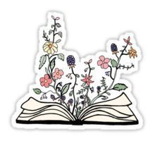flowers growing from book  Sticker