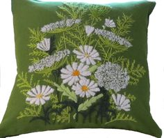 Green Crewel Embroidered Pillow.