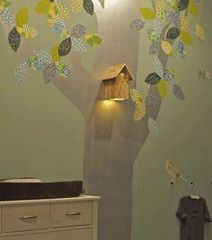 wallpaper tree and birdfeeder lamp