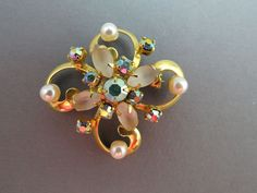 VTG AB Rhinestone Brooch Satin Glass Navette Stone Gold Plated Simulated Pearls