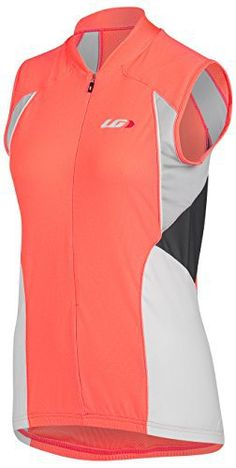 Louis Garneau Women's Beeze Vent Sleeveless Cycling Jersey, Coral Mania, Large - http://ridingjerseys.com/louis-garneau-womens-beeze-vent-sleeveless-cycling-jersey-coral-mania-large/