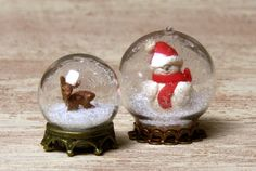 Miniature Christmas Snow Globe with Fawn for Your by DinkyWorld
